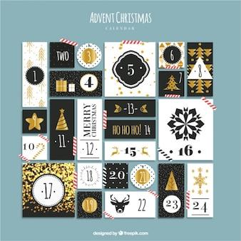 Calendario de adviento elegante con detalles dorados