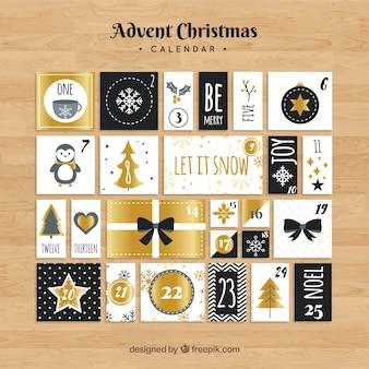 Calendario de adviento con elementos dorados y negros