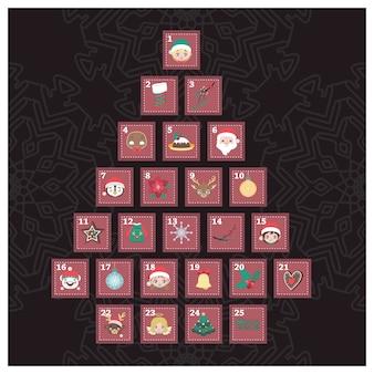 Calendario de adviento con elementos de navidad formando un árbol