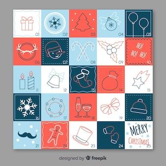 Calendario adviento elementos navidad