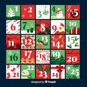 Calendario de adviento elementos navidad