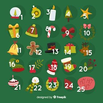 Calendario adviento elementos pequeños