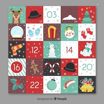 Calendario adviento elementos planos navidad
