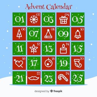 Calendario de adviento elementos planos