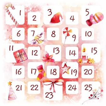 Calendario de adviento festivo de acuarela