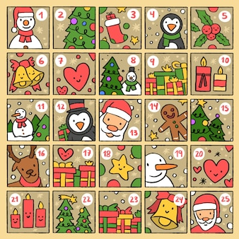 Calendario de adviento festivo dibujado a mano