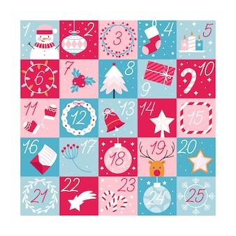 Calendario de adviento festivo de diseño plano