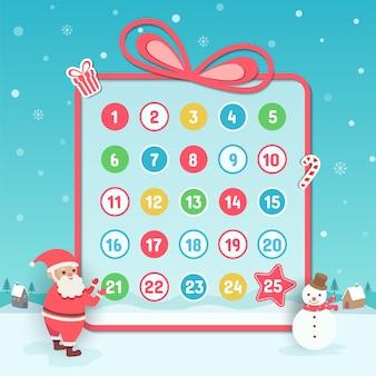 Calendario de adviento fondo de navidad con santa claus y muñeco de nieve