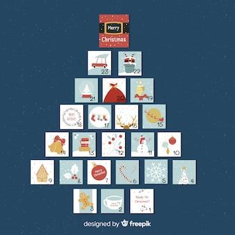 Calendario adviento forma de árbol de navidad