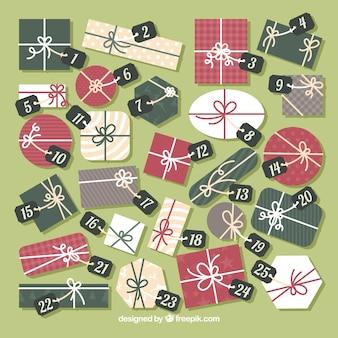 Calendario de adviento en forma de regalos de navidad