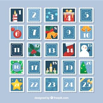 Calendario de adviento en forma de sellos postales