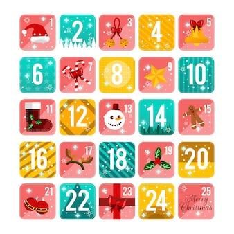 Calendario de adviento de ilustración de diseño plano