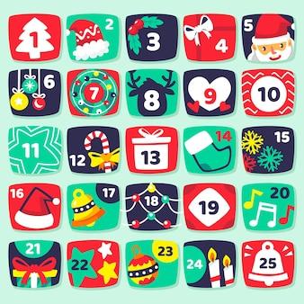 Calendario de adviento de ilustraciones planas