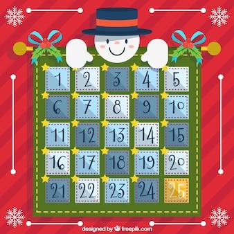 Calendario de adviento con muñeco de nieve