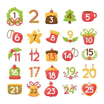 Calendario de adviento de navidad dibujado a mano