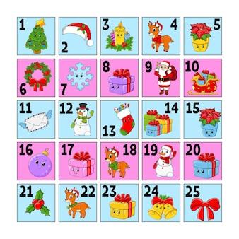 Calendario de adviento de navidad con lindos personajes. papá noel, ciervo, muñeco de nieve, abeto, copo de nieve, regalo, chuchería, calcetín.