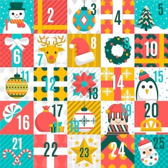 Calendario de adviento de navidad con patrones sin fisuras