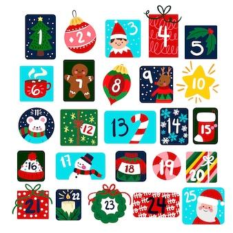 Calendario de adviento de navidad plano