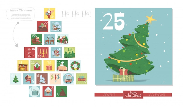 Calendario de adviento de navidad, santa claus, abeto