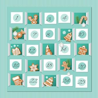Calendario de adviento de navidad.