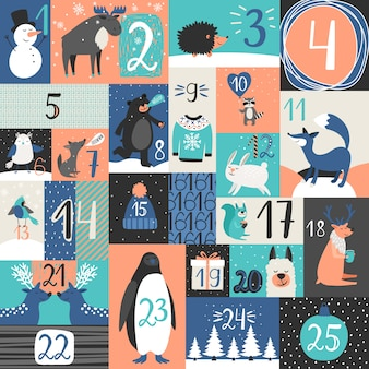 Calendario de adviento de navidad