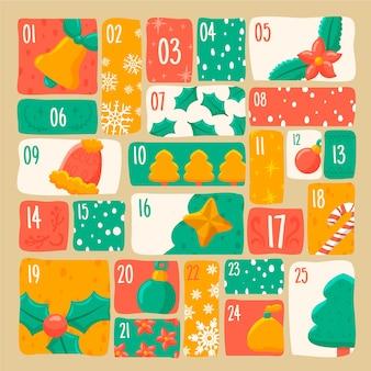 Calendario de adviento navideño dibujado a mano