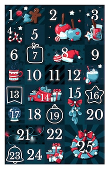 Calendario de adviento navideño, con lindas ilustraciones de doodle.