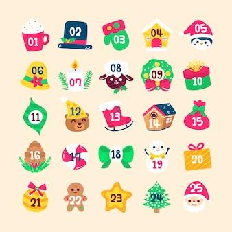 Calendario de adviento navideño con símbolos tradicionales dibujados a mano