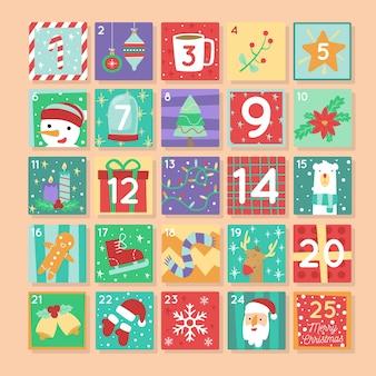 Calendario de adviento navideño con símbolos tradicionales en diseño plano