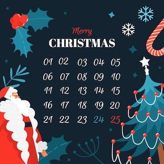 Calendario de adviento plano con muérdago y copos de nieve
