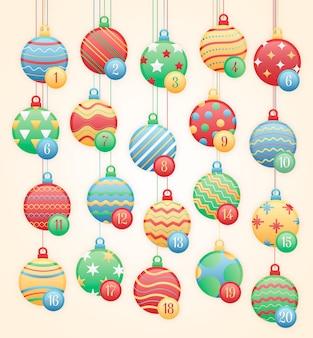Calendario de adviento plano para navidad