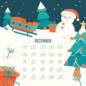 Calendario de adviento plano con nieve y muñeco de nieve