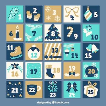 Calendario de adviento plano en tonos azules y beige