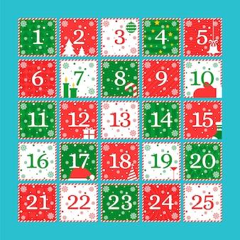 Calendario de adviento de plantilla de diseño plano