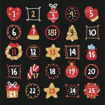 Calendario de adviento rojo y dorado