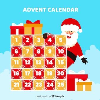 Calendario adviento santa asomándose