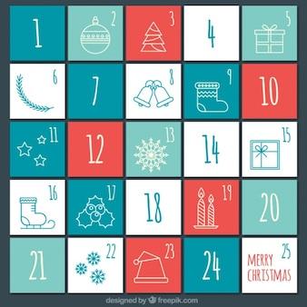 Calendario de adviento sencillo con dibujos
