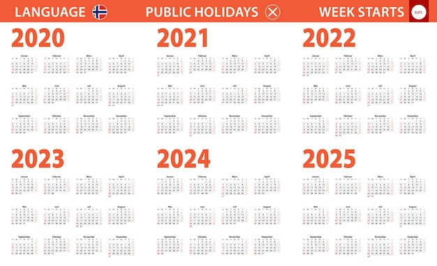 Calendario del año 2020-2025 en idioma noruego, la semana comienza en domingo.
