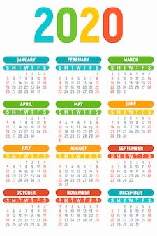 Calendario del año 2020 para niños, estilo plano