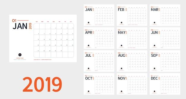 Calendario de año nuevo de 2019 en estilo minimalista, simple, azul y naranja.