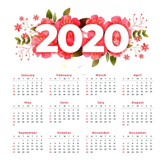 Calendario año nuevo 2020 con decoración floral