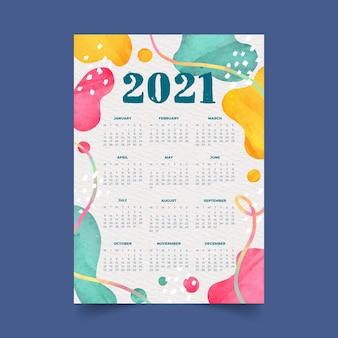 Calendario de año nuevo 2021 en acuarela con formas abstractas de colores