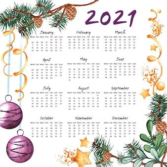 Calendario de año nuevo 2021 en acuarela