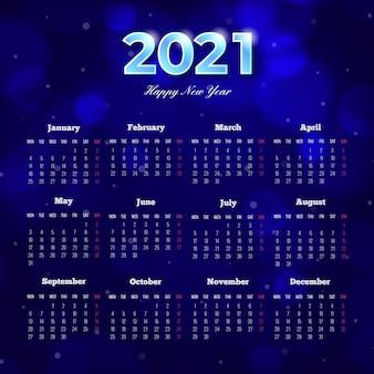 Calendario de año nuevo 2021 borroso
