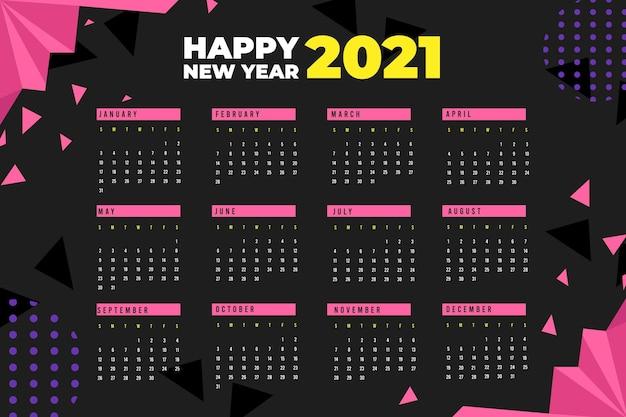 Calendario de año nuevo 2021 de diseño plano con formas poligonales