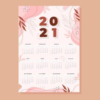 Calendario año nuevo 2021 en diseño plano
