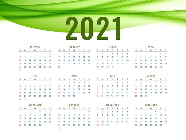 Calendario de año nuevo 2021 con elegante ola verde