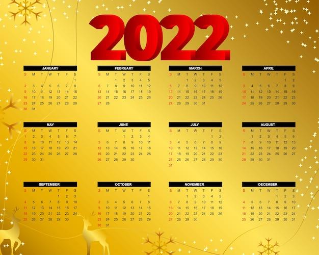 Calendario de año nuevo 2022 en estilo abstracto moderno