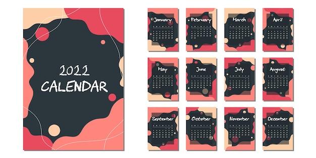 Calendario de año nuevo 2022 en estilo abstracto