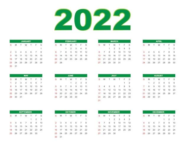 Calendario de año nuevo 2022 en estilo simple